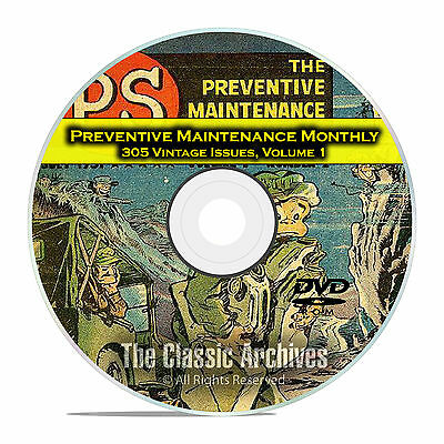 The Preventive Maintenance Monthly, Vol 1, 305 Issues, Vintage Army Mags DVD C89
