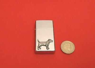 Patterdale Terrier Slim Polished Chrome Petrol Lighter Father Mother Useful Gift