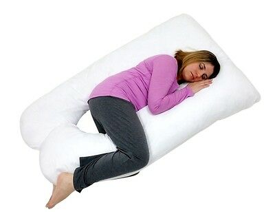 U Shaped Premium Contoured Body Pregnancy Pillow with Zippered Cover