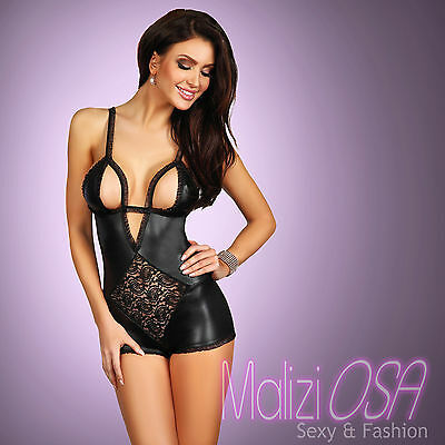 BODY Donna wetlook Pizzo Liquid Nero Sexy Hot Lingerie Fetish MaliziOSA