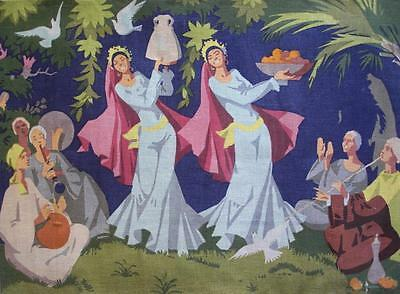 """needlepoint canvas A music band and 2 oriental dancers  work erea 33""""x23.5"""""""