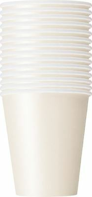 14 Party Paper Cups Plain Ivory Colour 266Ml/9 Oz Tablewear Party Catering Cup