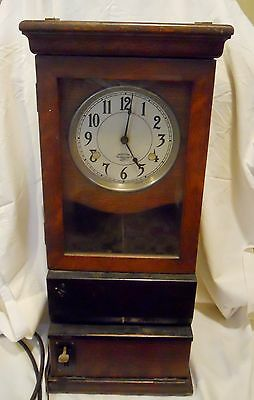 antique INTERNATIONAL TIME RECORDING CO.  OAK CASE  PUNCH/TIME  CLOCK