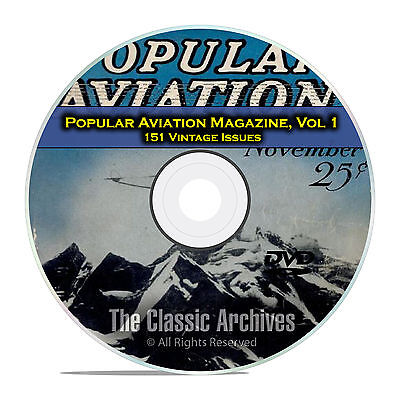 Popular Aviation Magazine, Vol 1, 151 Vintage Flight Issues, 1927-1944, DVD D07