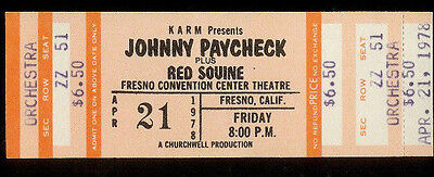 Rare Unused Johnny Paycheck Red Sovine Country Music Concert Ticket Ap 21st 1978