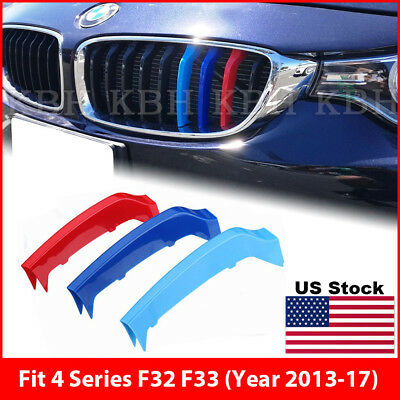 M-Power 8 Bars Kidney Grille 3 Color Cover Clip for BMW 2 Series F22 F23 2013-17