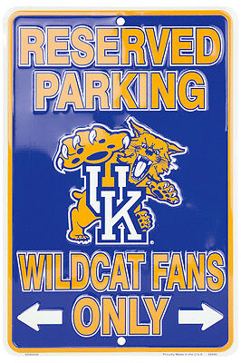 """KENTUCKY RESERVED PARKING WILDCATS FANS ONLY METAL SIGN MAN CAVE  8""""x 12"""""""