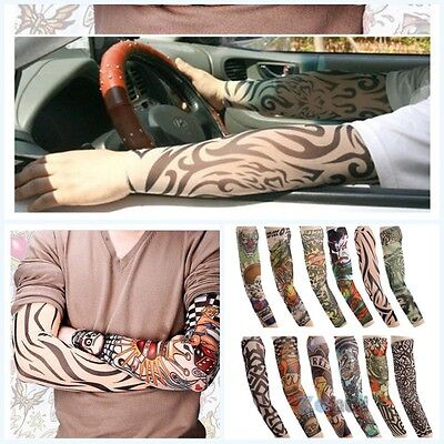 Hot New Men Tattoo Cycling Bicycle UV Sun Protection Arm Cuff Sleeve Covers L69