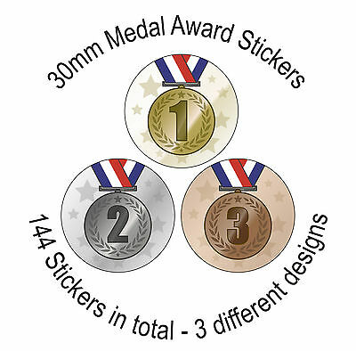 Medals Stickers - 144 30mm Stickers - 3 Designs - Ideal for Sports Day