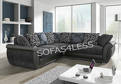 sale new large shannon leather & fabric corner sofa black grey brown beige cheap