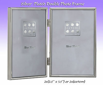 "Silver Plated Hinged Double Photo Frame.Velvet Backed.2x( 2½"" x 3½"").(#2-400-02)"