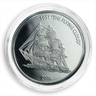 Liberia 10 dollars the flying ship cloud silver coin 2003