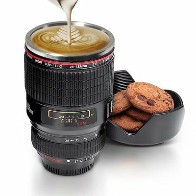 GREAT GIFT Stainless Steel Camera Lens Mug Coffee Cup Multi Purpose Holder