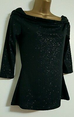 New Sparkly Black Silver Glitter Cowl Neck Evening Top Blouse 6-22