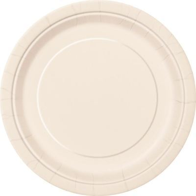 """16 x 9"""" PLAIN IVORY ROUND PAPER PLATES NEW YEAR BBQ TABLEWEAR CATERING"""
