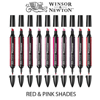 Winsor & Newton ProMarker Twin-Tip Graphic Marker Pens - RED & PINK Tones