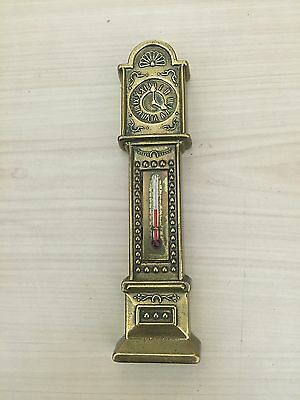 Vintage Grandfather clock imitation solid brass thermometer - ref 00428