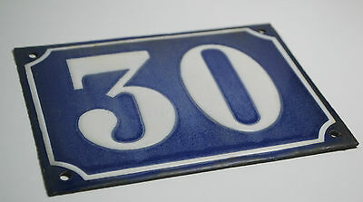 Vintage French/portuguese Blue Enamel Porcelain Door House Number Sign Plate 30