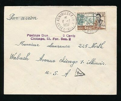 POSTAGE DUE FRENCH WEST AFRICA IVORY COAST to USA Sec.2 + 2c 1957