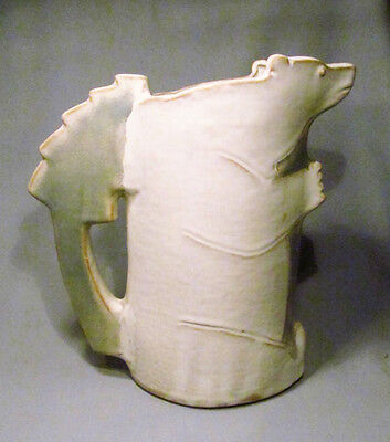 "Artist Signed OSS Pottery Polar Bear 11"" Figural Pitcher Tankard -Fabulous!"