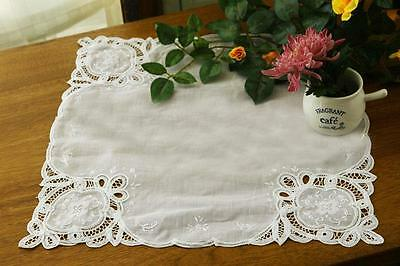 Beautiful Hand Flower Shadow Stitch Embroidery Batten Lace White Cotton Topper