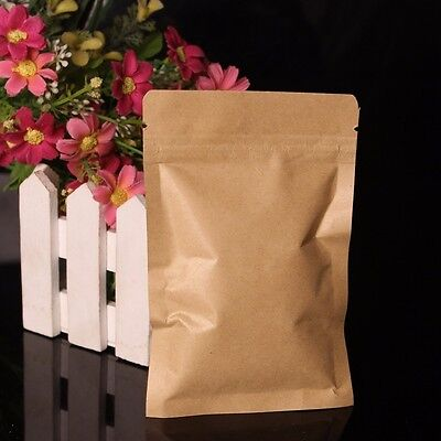 100 X Aluminum Foil Lined Kraft Paper Pouch Gift Bag Coffee Food Seal Zip Lock