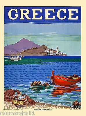 Greece Greek Aegean Seacoasts Europe Vintage Travel Advertisement Art Poster