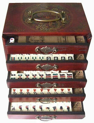 Chinese Antique Mahjong Set Leather Case 144 Full set Tiles with box