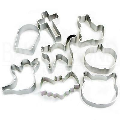 Halloween Shapes Set of 8 Metal Cookie Cutters Ghost Bat Pumpkin Cat Biscuit