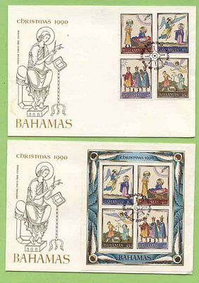 Bahamas 1990 Christmas set & miniature sheet First Day Covers