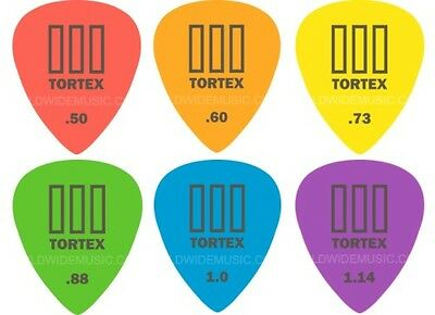 Dunlop TORTEX III Guitar Picks / Plectrums 12 Pack with a choice of 6 Gauges