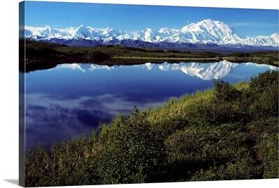 """Mt McKinley Reflected in Tundra Pond Denali NP AK"" Canvas Art Print"