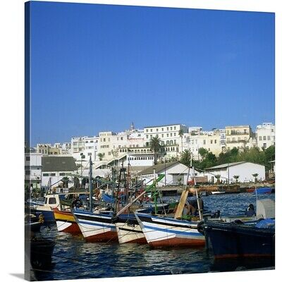 Solid-Faced Canvas Print Wall Art entitled Harbor of Tangier, Morocco