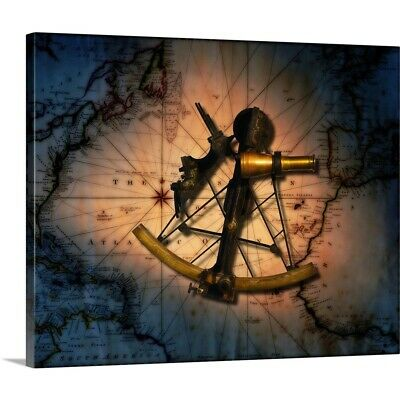 Solid-Faced Canvas Print Wall Art entitled Historic sextant with old world map