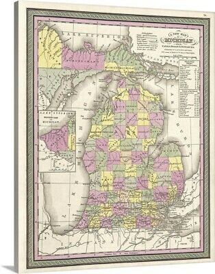 Premium Thick-Wrap Canvas Wall Art entitled Vintage Map of Michigan with its