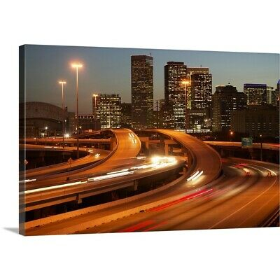 Solid-Faced Canvas Print Wall Art entitled USA, Texas, Houston city skyline and