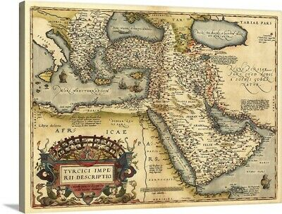 Solid-Faced Canvas Print Wall Art entitled Ortelius's map of Ottoman Empire,
