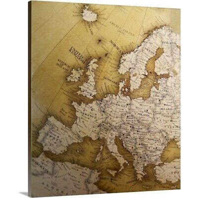Solid-Faced Canvas Print Wall Art entitled Antique map of Europe, Old World