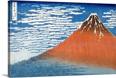Solid-Faced Canvas Print Wall Art entitled Fuji, Mountains in clear Weather,