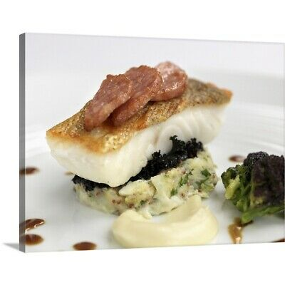 Premium Thick-Wrap Canvas Wall Art entitled Fillet of seabass with cauliflower