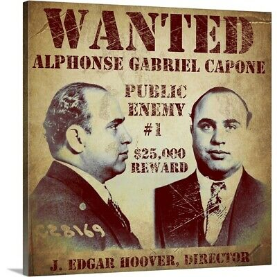 Premium Thick-Wrap Canvas Wall Art entitled Al Capone Wanted Poster