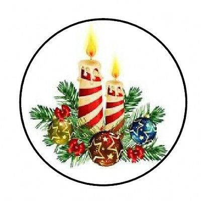 "48 Christmas Candles Envelope Seals Labels Stickers 1.2"" Round"