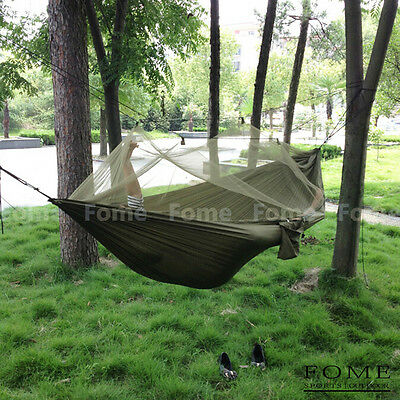 FOME Fabric Hammock Hanging Bed W/ Mosquio Net + Tree Hanging Adjustable Strap