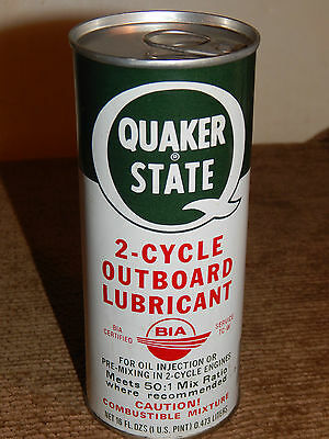 Vintage Quaker State 2 Cycle Outboard Lubricant EMPTY Metal Can 16 oz. - 1 pint