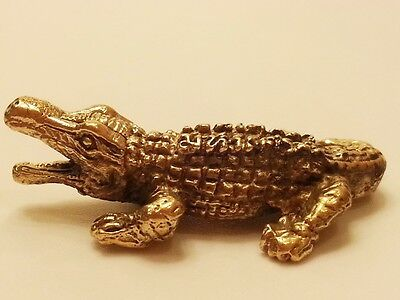 Brass Amulet Crocodile Alligator Miniature Charm Figurine Vintage Collect Statue