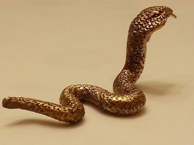 Brass Lucky Snake 2 Miniature Figurine Vintage Collect Animal Statue Home Decor
