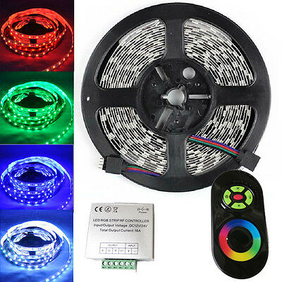 5M 300 Leds SMD 5050 RGB Led Strip Lights DIY Lamps + Touch Panel RF Controller