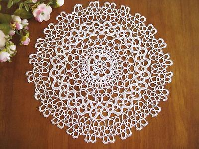 Vintage Style Hand Tatting Lace Round Cotton Doily White 32cm