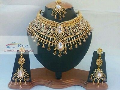 New Asian Indian Pakistani Bridal Party Necklace Set Gold-Plated Cz Jewellery