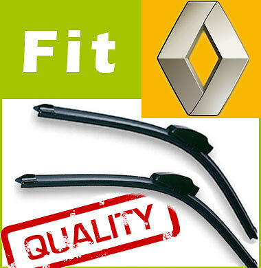 2 x Front Windscreen Wiper Blades Specific Fit FLAT BEAM for Renault